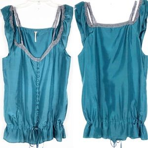 Free People   100% Silk Green Button-up Lace Tank